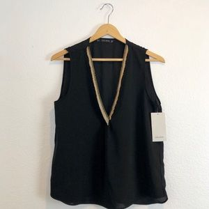 NWT Zara sheer sleeveless V neck with necklace top